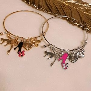 2 CHARM BRACELETS GOLD SILVER PINK HEART CAT ROSE